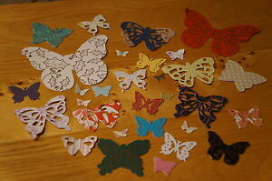 Mixed Lot Of 50 Butterfly Cut Outs. Various Colours/Patterns/Sizes. Paper & Card