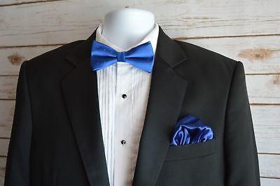 Mens Silk Pocket Square 100% Italian Silk Puff New Free Shipping Royal Blue