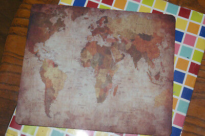 Retro Art World Map Color Printed Mouse Pad 9 X 7 Inches