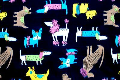 BTY*COLORFUL DRESSED UP FUNNY DOGS ON NAVY FLEECE FABRIC 1 YD 60X36