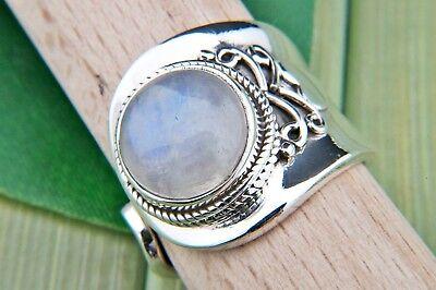 Ring Silber 925 Sterlingsilber verstellbar Regenbogen Mondstein weiß Stein