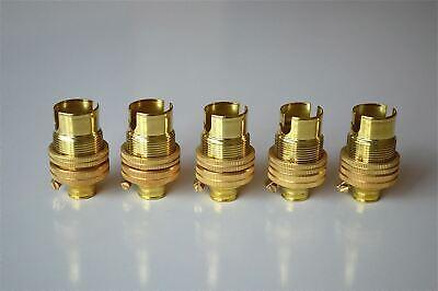 SET OF 5 BRASS SMALL BAYONET B15 FITTING BULB HOLDER LAMP C/W SHADE RING 10MM L5