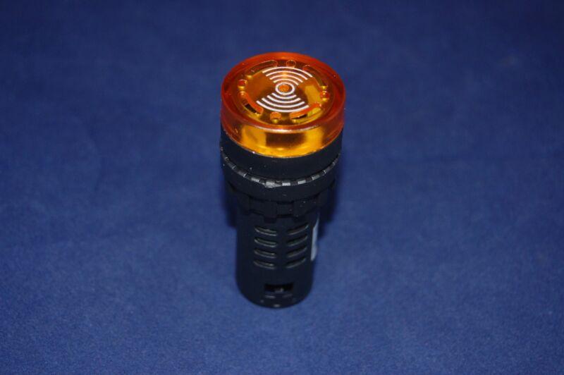 1pc 110V 22mm Flash Light Yellow LED Active Buzzer Beep Indicator  Intermittent