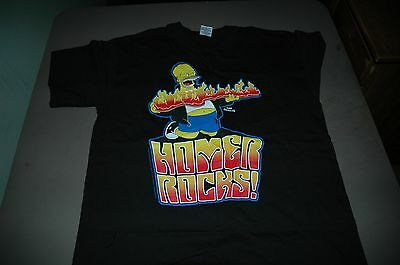 (The  Simpsons mens t shirt size large Homer rocks music flames)