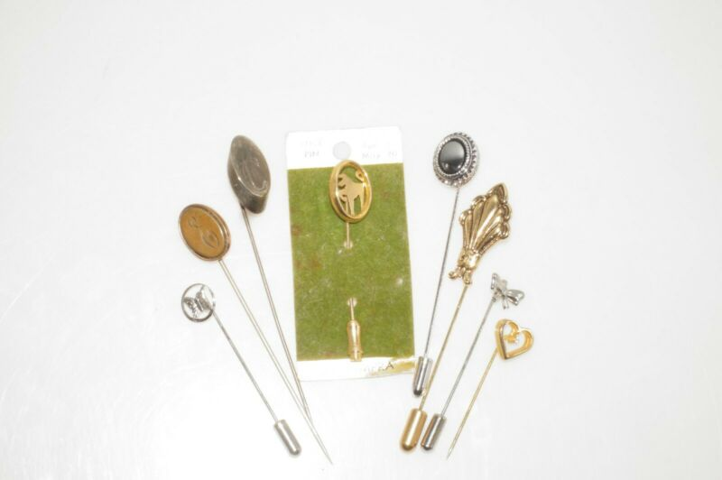 Lot 8 Vintage Antique Vintage Stick Pins Monogram C E Horse