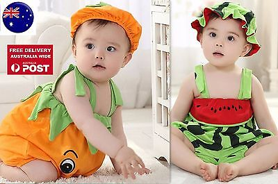 Baby Kid Girl Boy Halloween Pumpkin Watermelon Fruit Party Costume Romper Prop