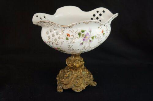 """Superb Antique French porcelain bonbonniere candy dish bon-bon 9"""""""