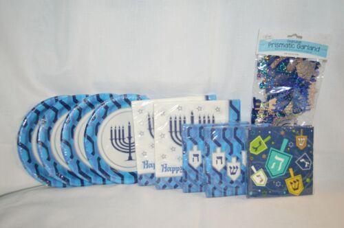 LOT of Hanukkah Chanukah Holiday Paper PLATES Napkins Prismatic GARLAND Decor