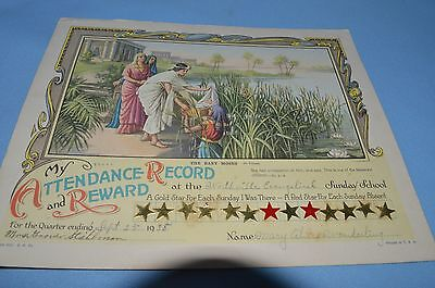 Antique My  ATTENDANCE RECORD & REWARD The Baby Moses 1938