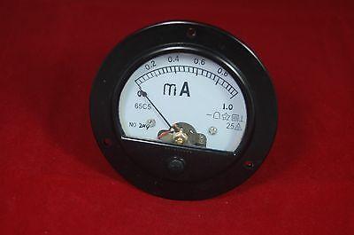 Dc 0-1ma Round Analog Ammeter Panel Amp Current Meter Dia. 90mm Plastic Housing