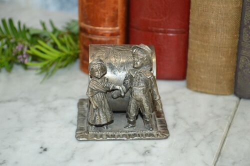 Antique Figural Jack and Jill Toronto Silver Plate Napkin Ring Kate Greenaway