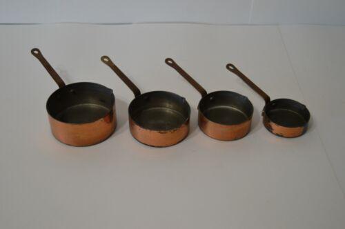 Vintage Copper Measuring Cups Set of 4 Engraved Flowers Pour Spouts Kitchen