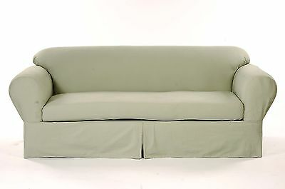 All Cotton Brushed Twill 2-piece Round arm Sofa Slipcover Sofa Solid Sage Brushed Twill Sofa Slipcover