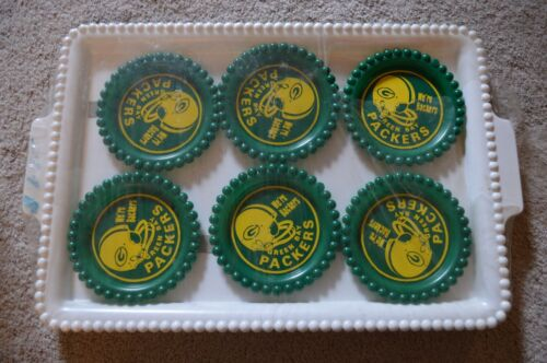 1960 Super Bowl Green Bay Packers Backers Complete Coaster Set of 6 W/ Tray RARE