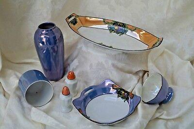 Vintage Japanese Blue Lustreware Serving Pieces