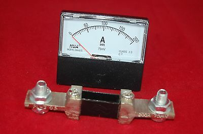 Dc 200a Analog Ammeter Panel Amp Current Meter Dc 0-200a 6070mm With Shunt