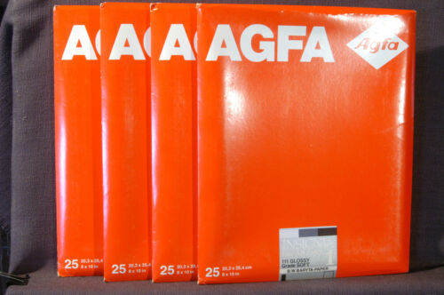 8x10 Agfa Insignia glossy, grade 1, fiber base, double weight paper 4 packs