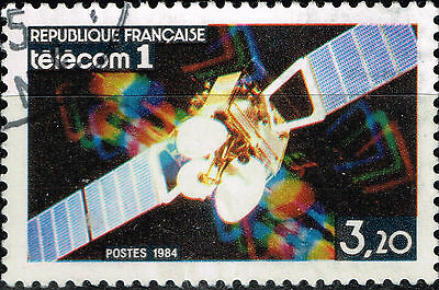 France Space Exploration Telecom 1 Stamp 1984