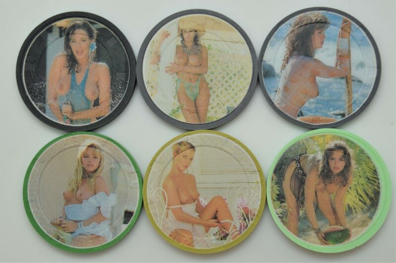 6 Different Brothel Original Paul-son Ladies Poker Clay Chips