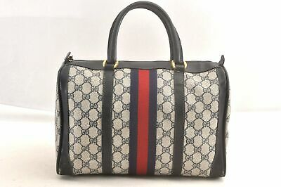 Authentic GUCCI Sherry Line Hand Bag GG PVC Leather Navy 97311