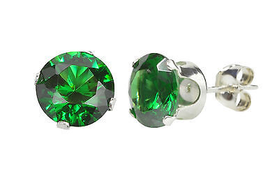 Sterling Silver Dark Green Round CZ Cubic Zirconia Stud Earrings Prong Setting