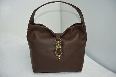 Dooney & Bourke CHOCOLATE Pebble Leather Logo Lock Hobo