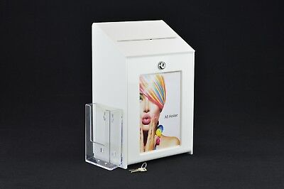 Lockable Collection / Suggestion Box + 1/3rd A4 Leaflet Holder PDS9463 WhiteLH
