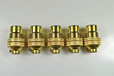 5 BRASS SMALL BAYONET FITTING B15 BULB HOLDER LAMP HOLDER C/W SHADE RING 10MM L5