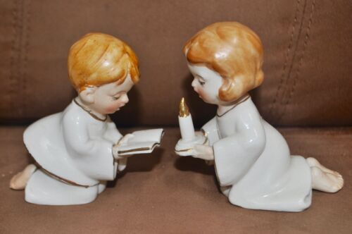 Pair of Ceramic Praying Boy & Girl Figurines 1960