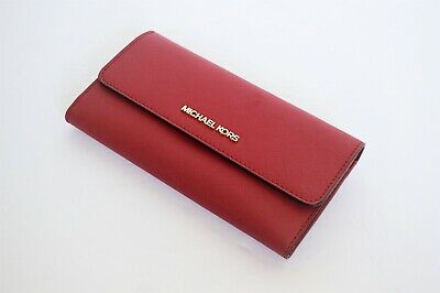 MICHAEL KORS JET SET TRAVEL SAFFIANO LEATHER LARGE TRIFOLD WALLET RED (Red Michael Kors)