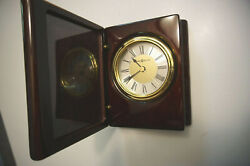 Howard Miller Desk Clock Rosewood Portrait Book Table 645-497