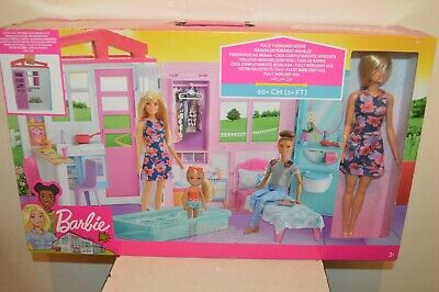 Barbie House Fully Furniture 23 5/8in New Mattel 2018+1 Doll Included