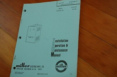 Miller Welder Swinger 180 Owner Operator Operation Maintenance Manual Book Guide
