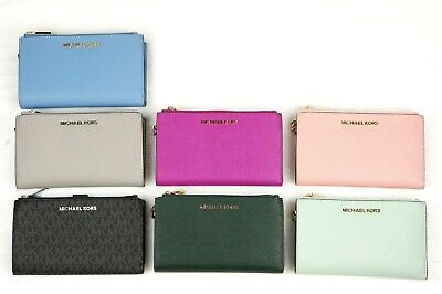 Michael Kors JET SET Travel Double Zip Wristlet Phone Case Wallet Logo Black