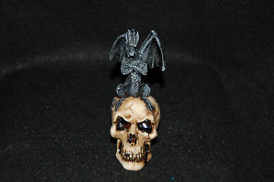 4 Resin Figurine (Dragon Perched on Skull Figurine-- Poly Resin-- 2 1/4