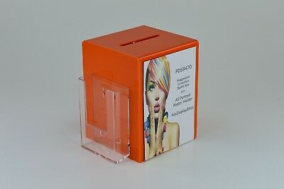 Suggestion Collection Box with Leaflet Holder + A5 Poster Holder PDS9470 Orange
