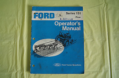Ford Tractor Series 151 Plow Series Operators Manual Ford Motor Company