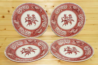 """Spode Pink Camilla Set of (4) Dinner Plates, 10 1/2"""" MADE IN ENGLAND"""