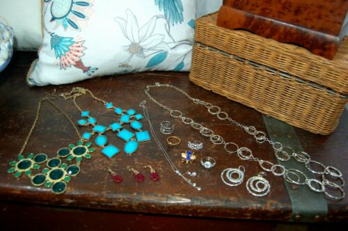 Lot 13 Jewelry Items Necklaces, Earrings, Pin/Pendants, Rings 9/10 925  Silver