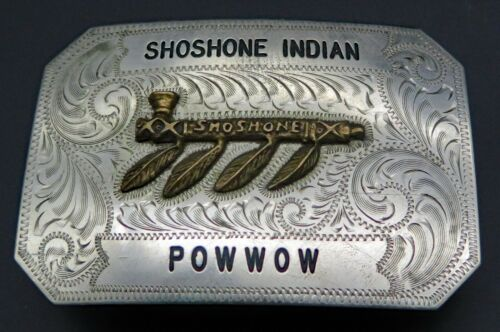 Shoshone Indian Pow Wow Native American Peace Pipe SSS Vintage Belt Buckle