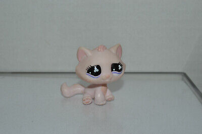 Littlest Pet Shop~#606~Kitty Cat~All Pink~Sitting~P​ink Mauve Clover Eyes