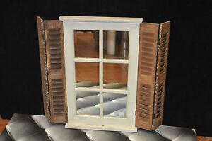 Miroir en forme de fenetre avec volets en bois ebay for Miroir en forme de fenetre
