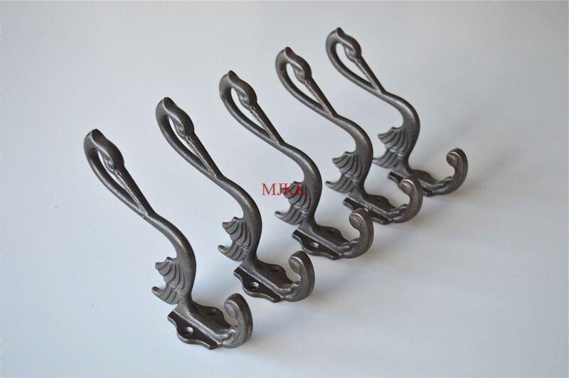 Set of 5 Arts & Crafts cast iron heron coathook wall door hanger coat hook AL46