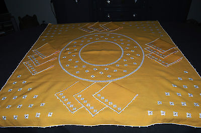 ANTIQUE SERVICE TEA LINEN/TABLECLOTH + 12 NAPKINS/EMBROIDERY OF SMALL FLOWERS