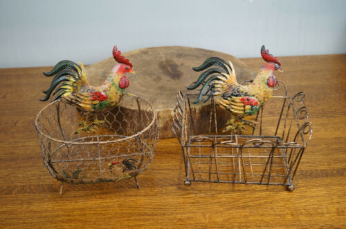 Lot of 2 Farmhouse Metal Wire Rooster Chicken Egg Basket