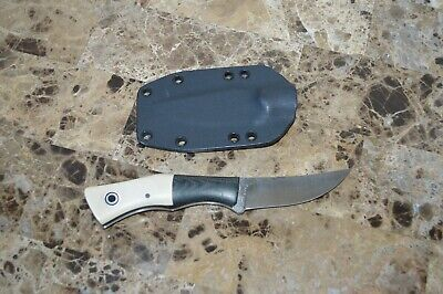 "7.5"" knife Fiddleback Forge by AR Andy Roy kydex Leather sheath black bolster"