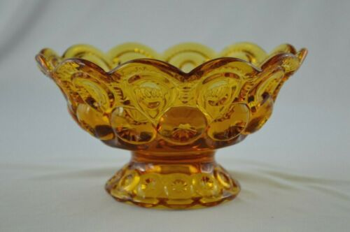 L E Smith Moon & Stars Amber Footed Bowl