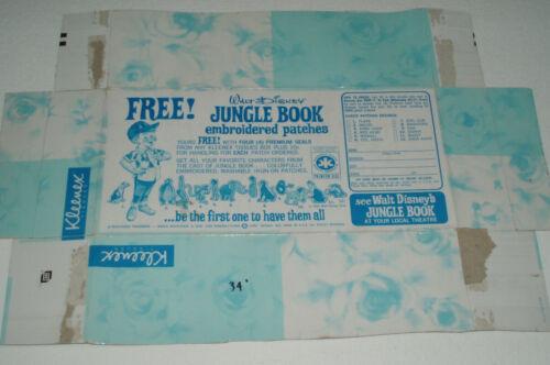 1966 JUNGLE BOOK Patch offer on Kleenex Box bottom Disney Movie premium