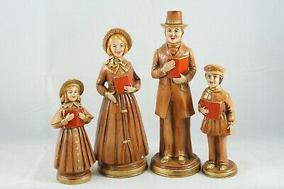 4 Vintage Victorian Christmas Carolers Family Paper Mache Made In Japan  Christmas Carolers Figures