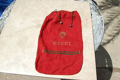 Vintage Gucci Red Shoe Bag Dust Cover Storage Flannel Italy Brass Drawstring